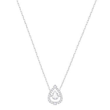 Swarovski Sparkling Dance Silver Pear Necklace  - Click to view larger image