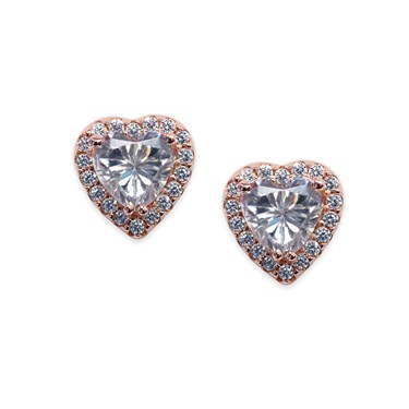 Carat* London Cora Rose Heart Stud Earrings  - Click to view larger image