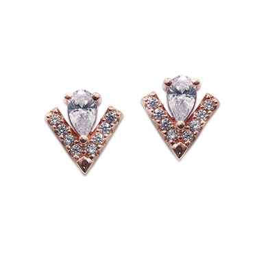 Carat* London Victoria Rose Stud Earrings  - Click to view larger image