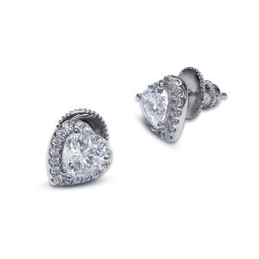 Carat* London Cora White Heart Stud Earrings  - Click to view larger image