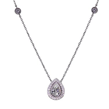 Carat* London Classic Pear Halo Necklace  - Click to view larger image