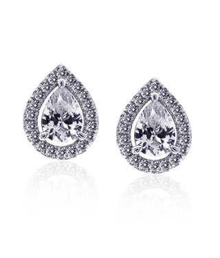Carat* London Classic Pear Halo Stud Earrings  - Click to view larger image