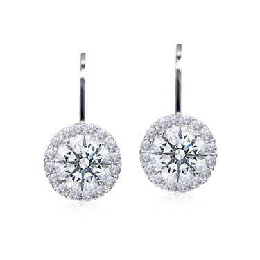 Carat* London Round Halo Drop Earrings  - Click to view larger image