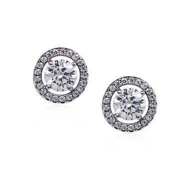 Carat* London Classic Round Halo Stud Earrings  - Click to view larger image