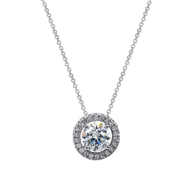 Carat* London Round Halo Drop Pendant Necklace  - Click to view larger image