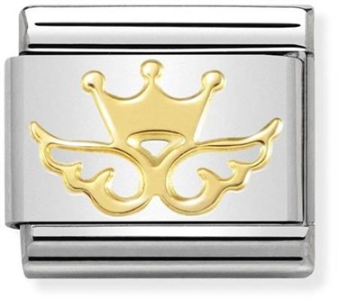 Nomination Gold Crown Angel Charm  - Click to view larger image