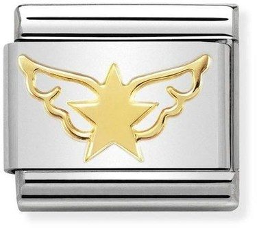 Nomination Gold Star Angel Charm  - Click to view larger image