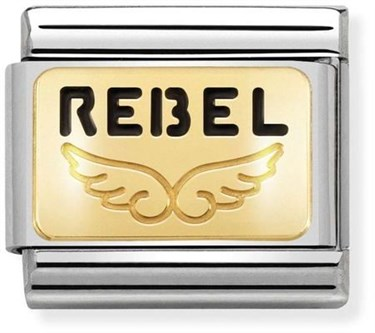 Nomination Gold Angel Rebel Charm  - Click to view larger image