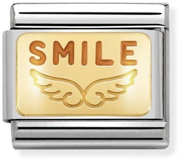 Nomination Gold Angel Smile Charm  - Click to view larger image