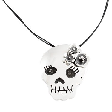 Argento Skull And Flower Necklace