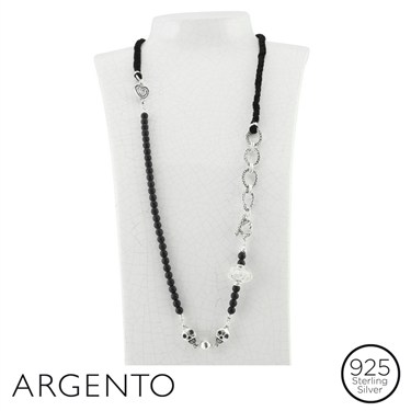 Argento Beaded Skull Necklace