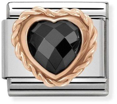 Nomination Rose Gold Black Heart Charm  - Click to view larger image