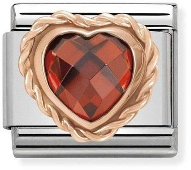 Nomination Rose Gold Red Heart Charm  - Click to view larger image