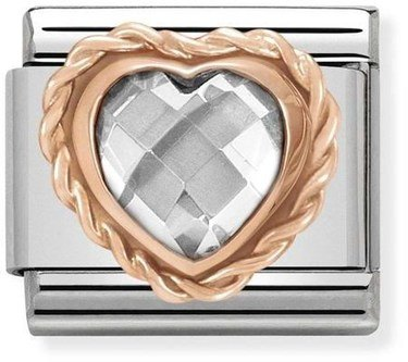 Nomination Rose Gold White Heart Charm  - Click to view larger image