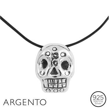 Argento Patterned Skull Necklace