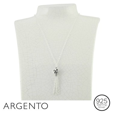 Argento Skull Necklace With Tassels