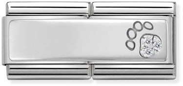 Nomination Silver shine Double Paw Print Charm  - Click to view larger image