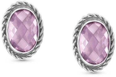 Nomination Pink CZ Silver Earrings  - Click to view larger image