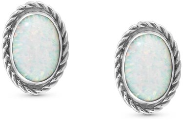 White Opal Silver Earrings
