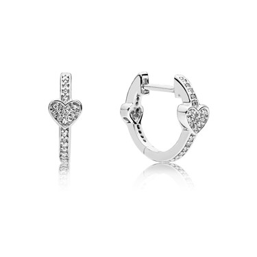 Pandora Silver Alluring Hearts Hoop Earrings  - Click to view larger image