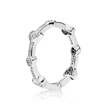 Pandora Silver Alluring Hearts Ring  - Click to view larger image