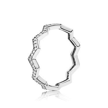 Pandora Silver Shimmering Zig Zag Ring  - Click to view larger image