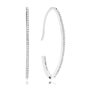 Pandora Oval Sparkle Hoop Earrings  - Click to view larger image