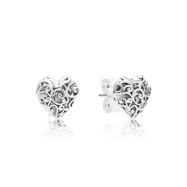 Pandora Silver Regal Hearts Stud Earrings  - Click to view larger image