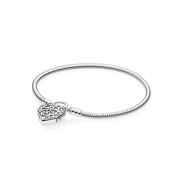 PANDORA Moments Smooth Regal Heart Padlock Clasp Bracelet  - Click to view larger image