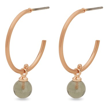 Pilgrim Rose Gold + Grey Arden Hoop Earrings  - Click to view larger image