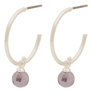 Pilgrim Silver + Purple Arden Hoop Earrings  - Click to view larger image