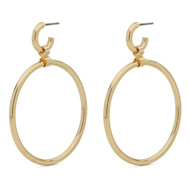 Pilgrim Gold Drop Hoop Earrings  - Click to view larger image