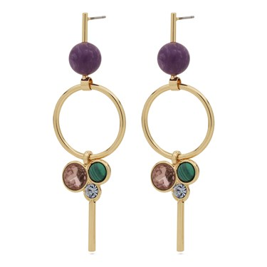 Pilgrim Gold Purple Drop Earrings   - Click to view larger image