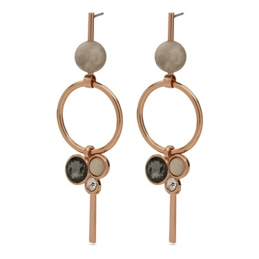 Pilgrim Gold Grey Drop Earrings   - Click to view larger image