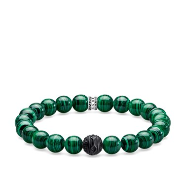 Thomas Sabo Green Malachite Beaded Bracelet  - Click to view larger image