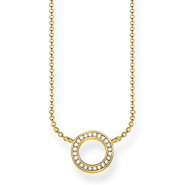 Thomas Sabo Gold Circle Pave Necklace  - Click to view larger image