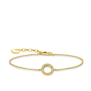 Thomas Sabo Gold Plated Circle Pave Bracelet  - Click to view larger image