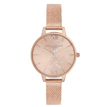 Olivia Burton Celestial Rose Gold Boucle Mesh Watch  - Click to view larger image