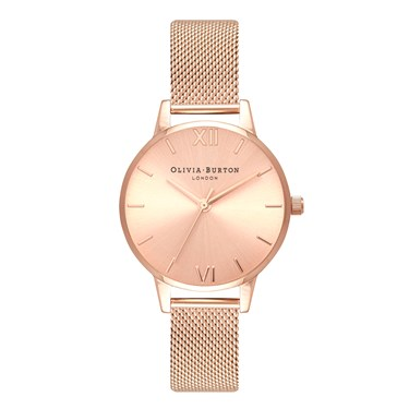 Olivia Burton Sunray Dial Midi Rose Gold Mesh Watch  - Click to view larger image