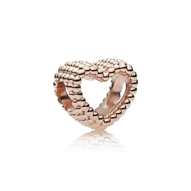 Pandora Rose Beaded Heart Charm  - Click to view larger image