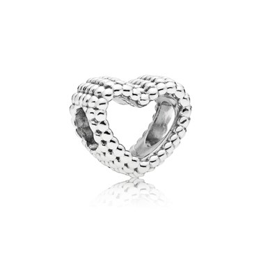Pandora Silver Beaded Heart Charm  - Click to view larger image