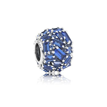 PANDORA Blue Chiselled Elegance Charm  - Click to view larger image