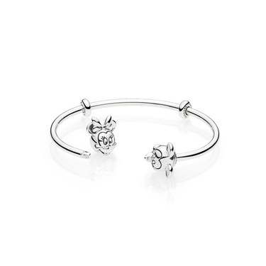 452265d01 Pandora Disney Mickey and Minnie Open Bangle - Click to view larger image