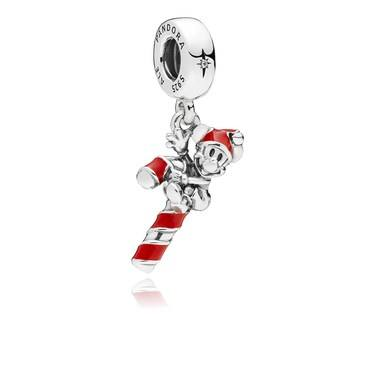 Pandora Disney Mickeys Candy Cane Pendant Charm  - Click to view larger image