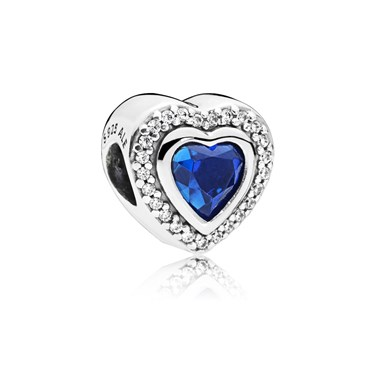 PANDORA Blue Sparkling Love Charm  - Click to view larger image