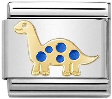 Nomination Gold & Blue Dinosaur Charm  - Click to view larger image