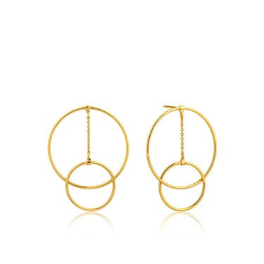 Ania Haie Gold Modern Front Hoop Earrings  - Click to view larger image