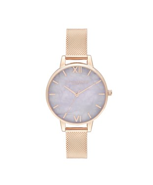 Olivia Burton Amethyst & Rose Gold Mesh Watch  - Click to view larger image