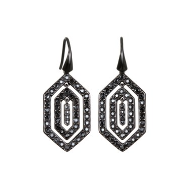 Karl Lagerfeld Black Deco Concentric Earrings  - Click to view larger image