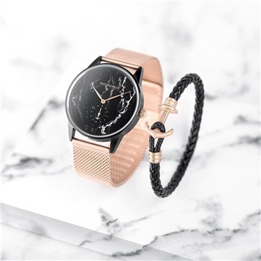 Paul Hewitt Black Marble + Rose Gold Mesh Watch Gift Set  - Click to view larger image